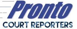 Pronto Court Reporters (310)844-7888 Logo